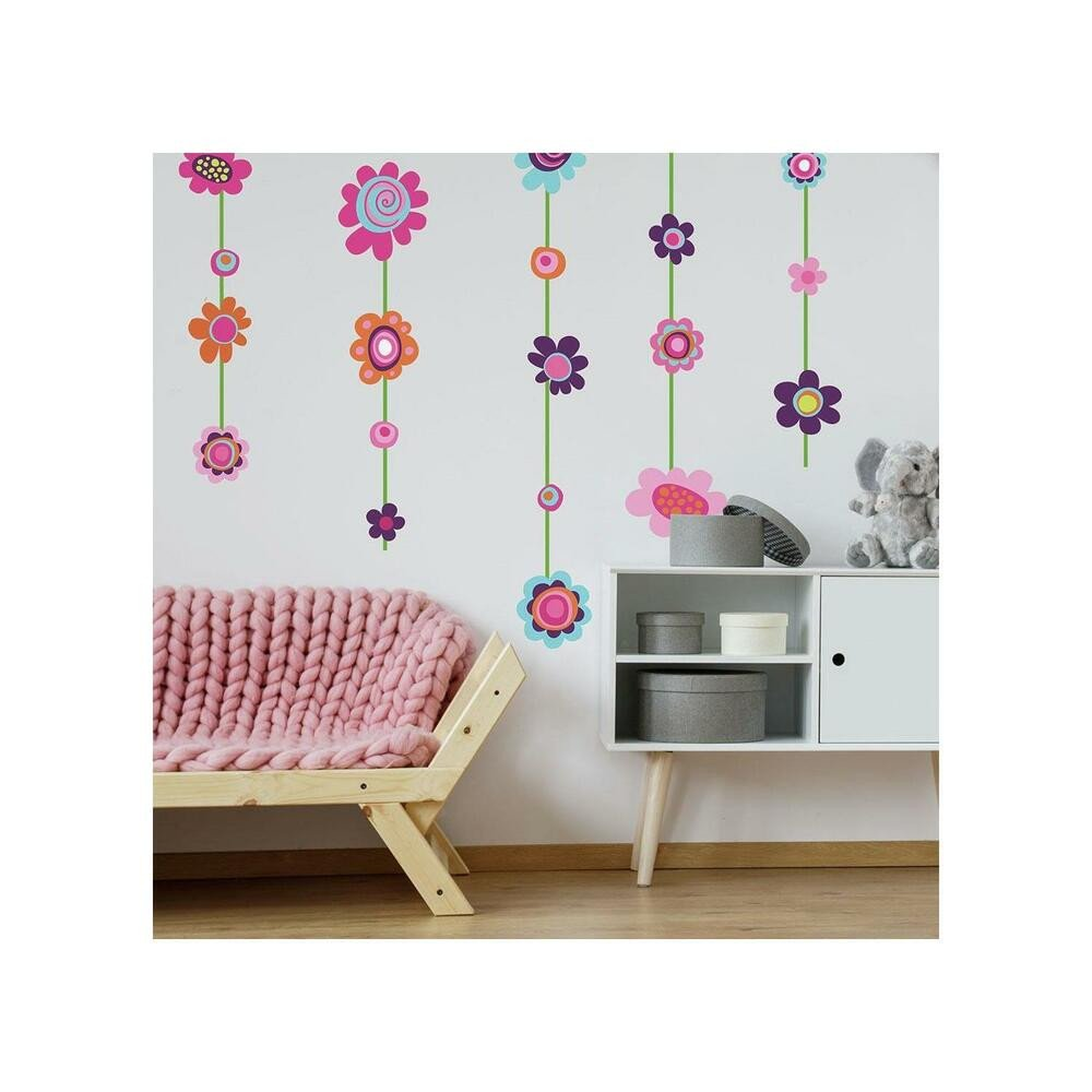 Wall Decor for Girls Bedroom Beautiful Flower Stripe Giant Wall Decals Big Flowers Stickers New Girls Floral Deco Decor