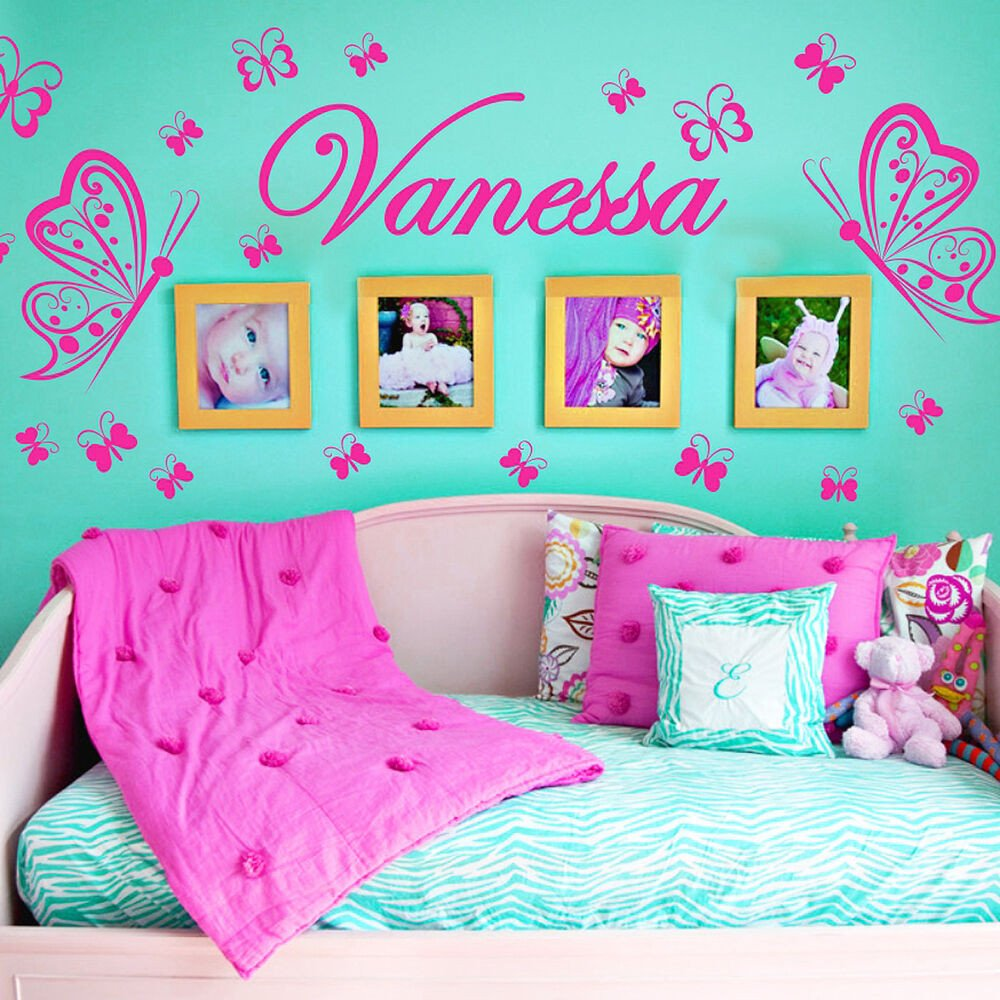 Wall Decor for Girls Room Awesome Personalized Name butterflies Vinyl Wall Decals Sticker Art Decor Mural