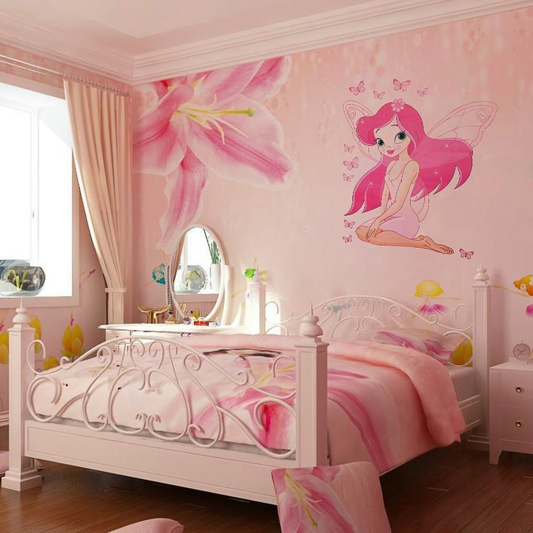 Wall Decor for Girls Room Beautiful Hot Sale Fairy Princess butterly Decals Art Mural Wall Stickers Girls Bedroom Decor Sticker Drop