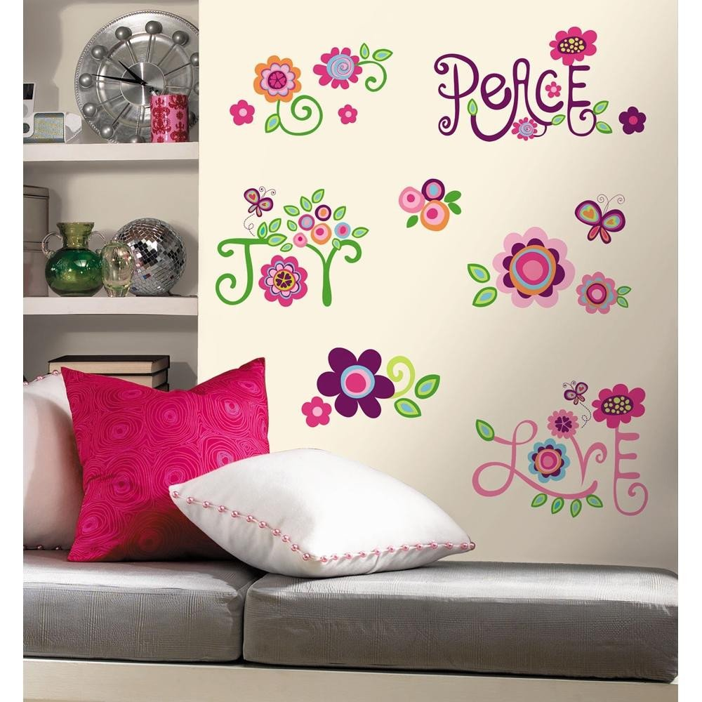 Wall Decor for Girls Room Fresh New Love Joy Peace Wall Decals Flowers Stickers Girls Deco Flower Bedroom Decor
