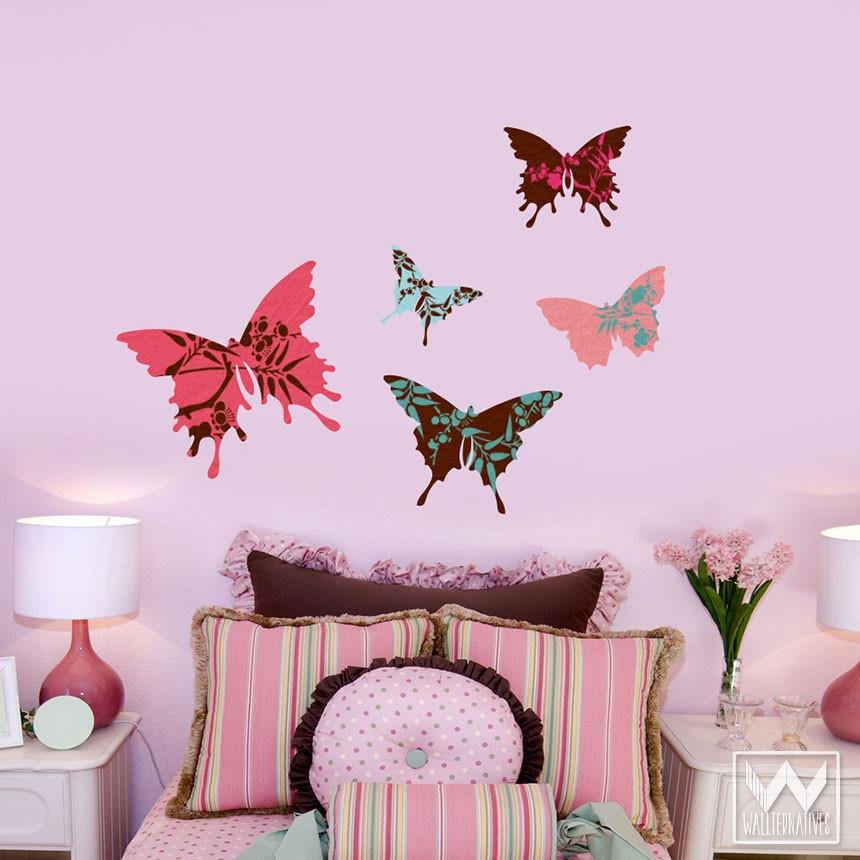 Wall Decor for Girls Room Inspirational butterfly Wall Art for Decorating Nursery or Dorm Removable Decals Wallternatives