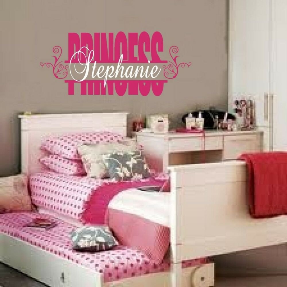 Wall Decor for Girls Room Inspirational Personalized Custom Name Princess Vinyl Wall Decal Sticker Words Girl Room Decor