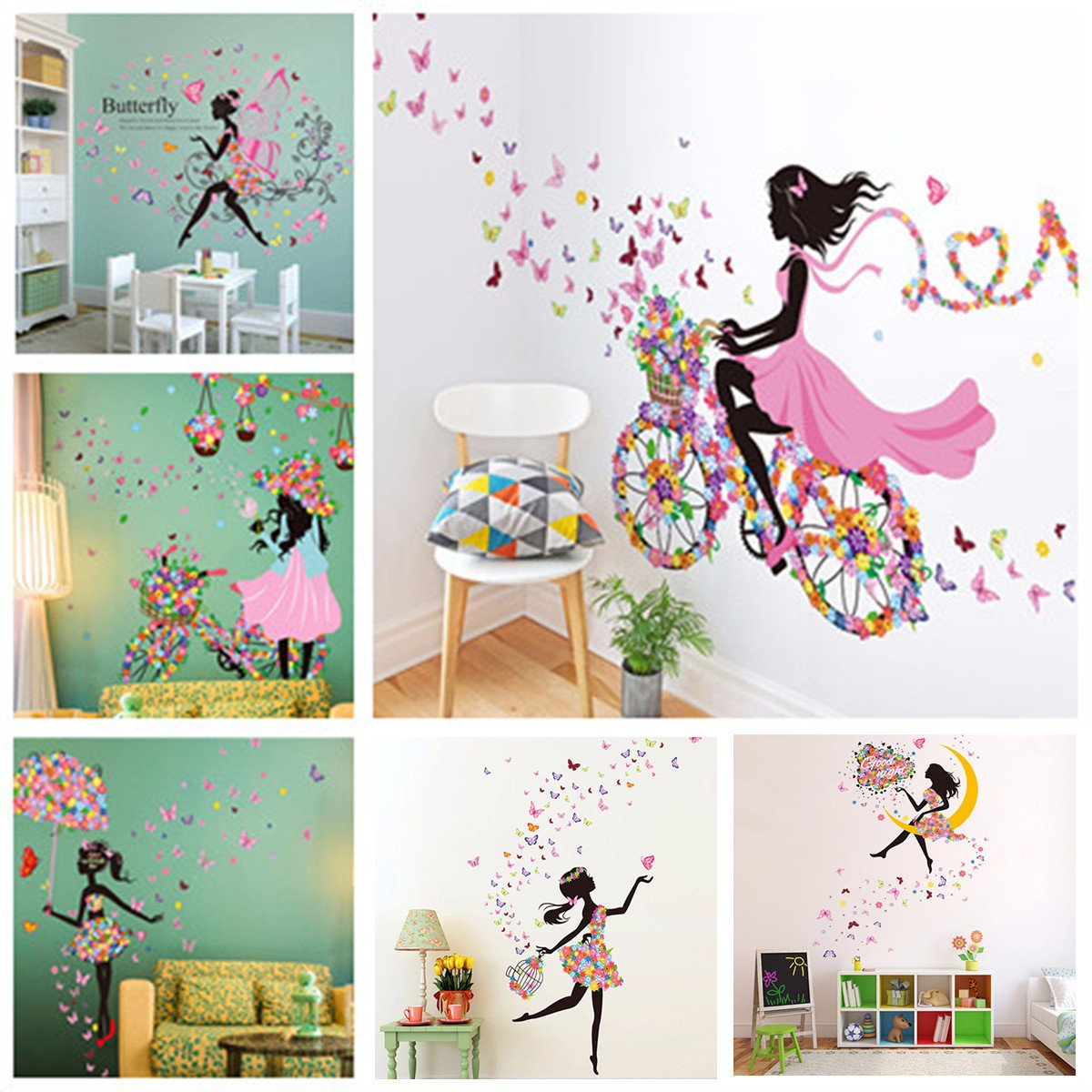 Wall Decor for Girls Room New Flower Girl Removable Wall Art Sticker Vinyl Decal Kids Room Home Mural Decor
