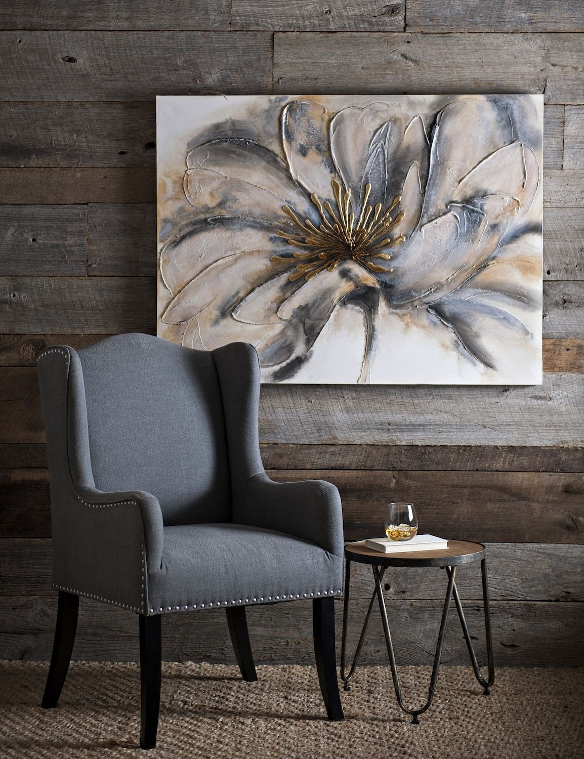 Wall Decor for Grey Walls Fresh Product Details Gold and Gray Bloom Canvas Art In 2019 Modern Farmhouse
