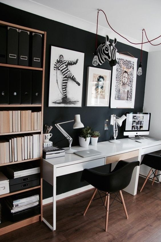 Wall Decor for Home Office Awesome 25 Gorgeous Home Fices with Black Walls Digsdigs