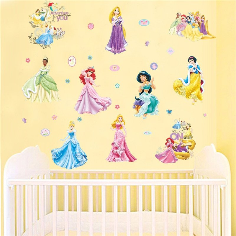 Wall Decor for Kids Room Beautiful Fairy Tale Girl Wall Stickers Princess Poster Diy Removable Children Wall Decals Decor Kids Room