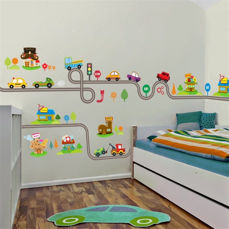 Wall Decor for Kids Room Unique Cartoon Cars Highway Track Wall Stickers for Kids Rooms Sticker Children S Play Room Bedroom
