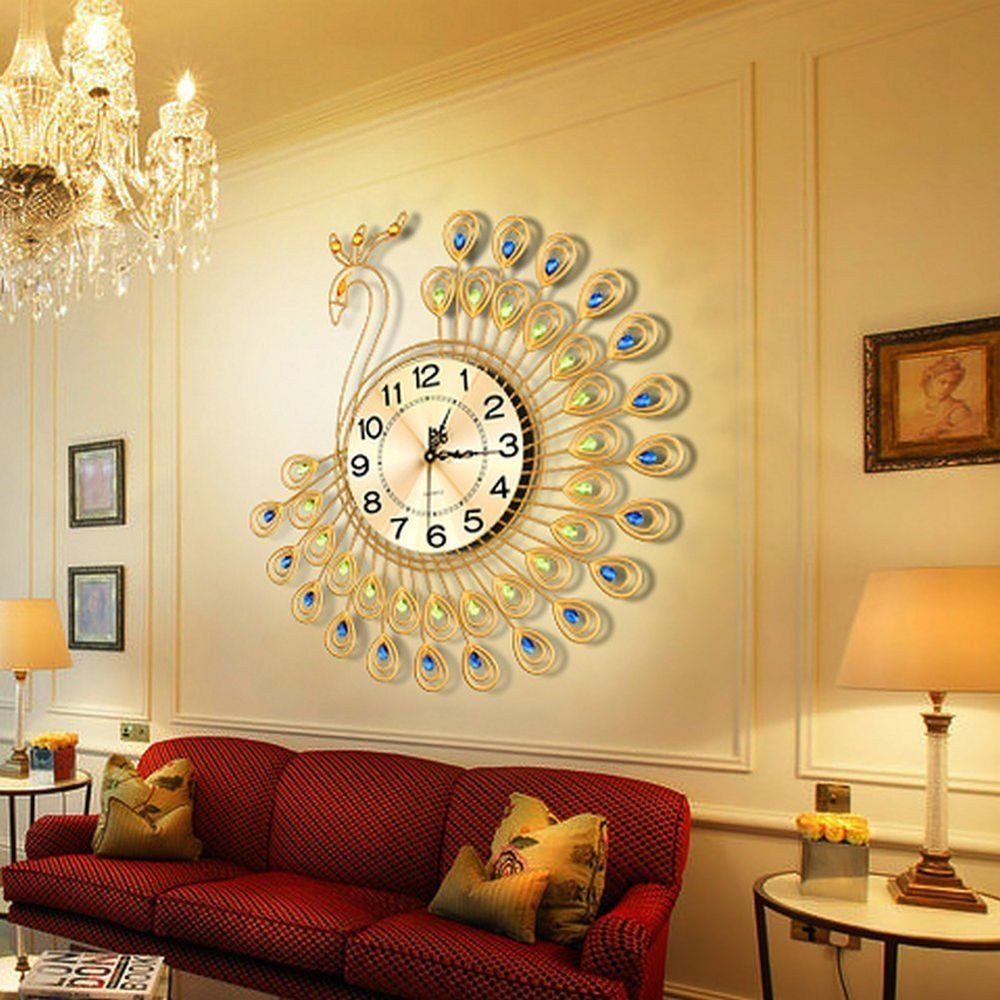 Wall Decor for Large Wall Beautiful Perfect Gold Peacock Wall Clock Metal Living Room Wall Watch Home Decor