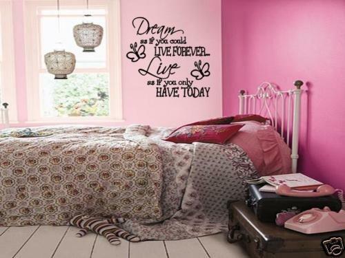 "Wall Decor Teenage Girl Bedroom Lovely Dream Live Girls Teen Bedroom Vinyl Wall Art Decal Sticker Lettering Words 36"""
