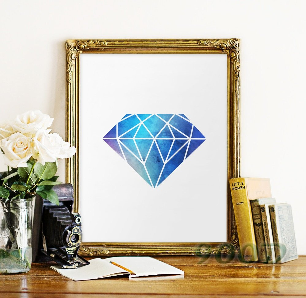 Wall Pictures for Home Decor Beautiful Watercolor Blue Diamond Canvas Art Print Poster Wall for Home Decoration Wall Decor