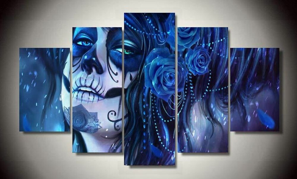 Wall Pictures for Home Decor Elegant Framed Canvas Prints Blue Sugar Skull Day Of the Dead Wall Art Decor