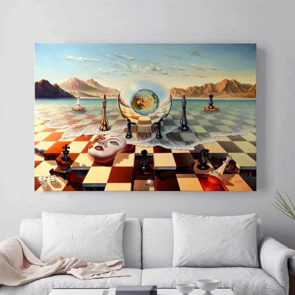 Wall Pictures for Home Decor Fresh Surreal City Chess Beach Set Canvas Art Print Painting Poster Wall for Living Room Home
