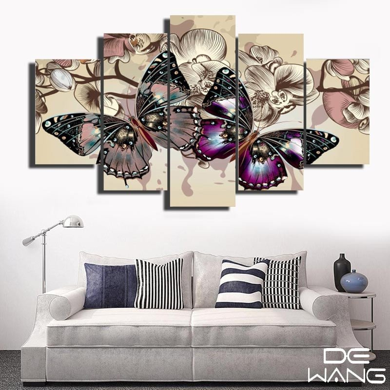Wall Pictures for Home Decor Lovely 5 Panel Hd butterfly Wall Art Running Horse Modern Home Wall Decor Abstract