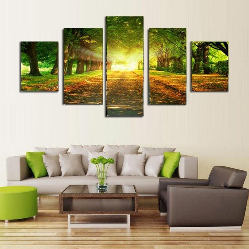 Wall Pictures for Home Decor Luxury 5 Piece Canvas Art Print Oil Paintng Sunlight Green Trees Wall Landscape Home