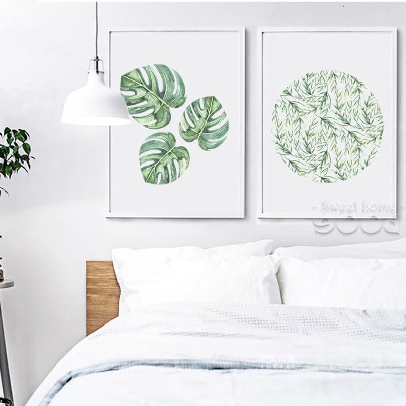 Wall Pictures for Home Decor New Watercolor Tropical Leaf Canvas Art Print Poster Wall for Home Decoration Giclee Wall