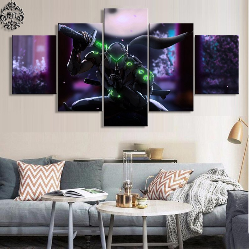 Wall Pictures for Home Decor Unique Canvas Painting Game Poster 5 Pieces Overwatch Genji Wall Art Printed Home Decor for