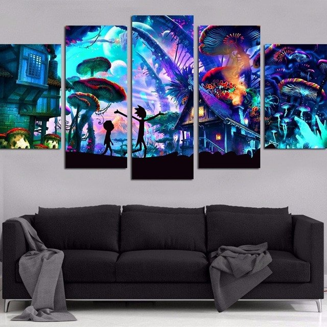 Wall Pictures for Home Decor Unique Canvas Wall Art Modular Home Decor 5 Pieces Rick and Morty Paintings Living Room Hd