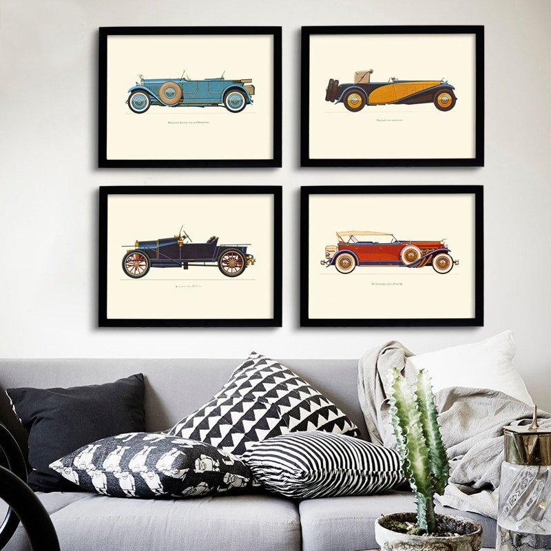 New Classic Cars Vintage Canvas Painting Posters Prints Oil Wall Art For Living Room