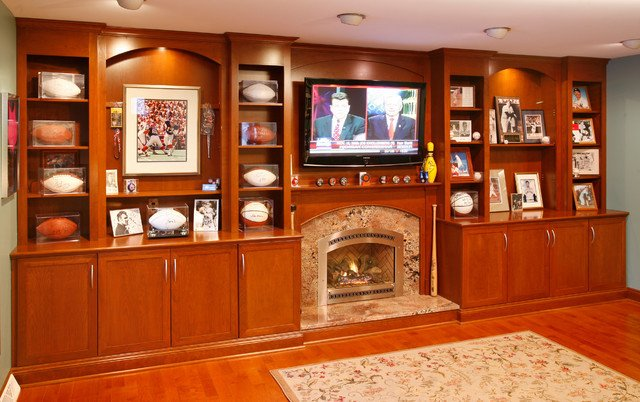 Wall Units Traditional Living Room Elegant Wall Unit with Tv and Decorative Shelving Traditional