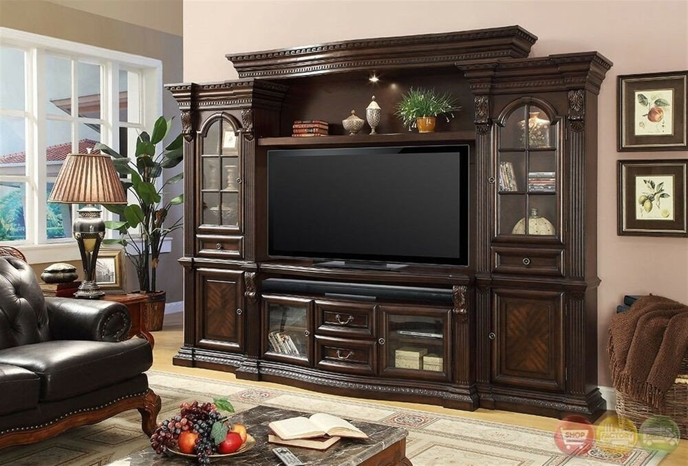 Wall Units Traditional Living Room Inspirational Parker House Bella Traditional Dark Wood Entertainment