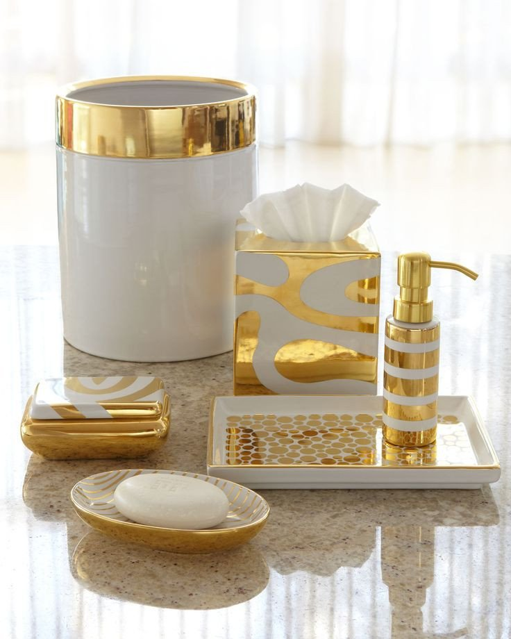 White and Gold Bathroom Decor Best Of Vanity Tray by Waylande Gregory Porcelain & Gold Vanity Accessories Horchow
