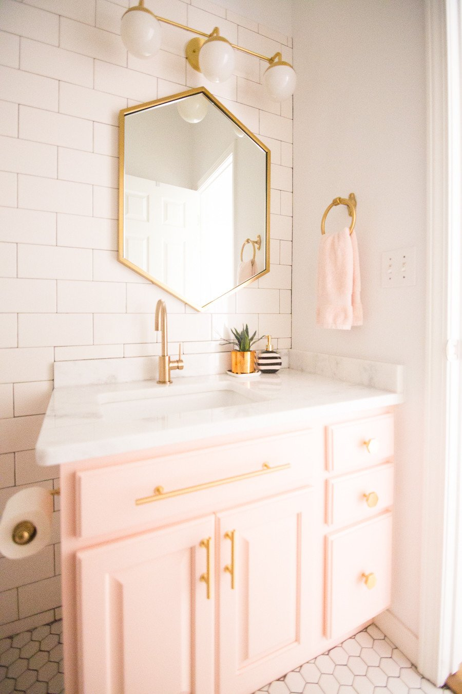 White and Gold Bathroom Decor Fresh Modern Glam Blush Girls Bathroom Design Cc and Mike