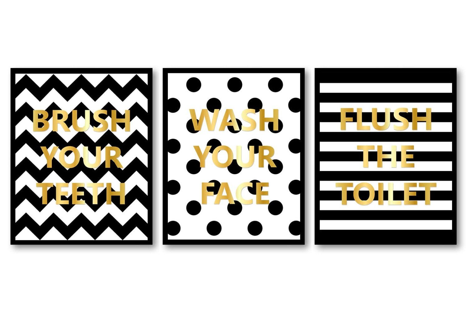 White and Gold Bathroom Decor Inspirational Black White Gold Bathroom Decor Bathroom Print Set Of 3 Brush