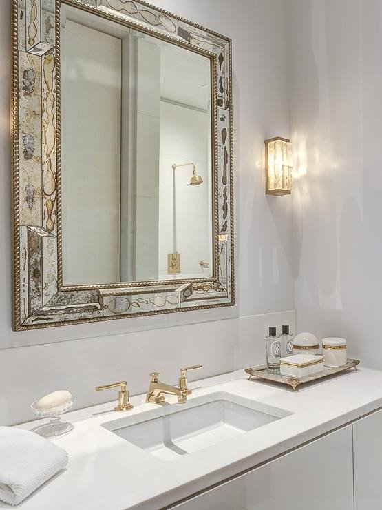White and Gold Bathroom Decor Lovely Antiqued Mirrored Bathroom Vanity with White Marble top Contemporary Bathroom