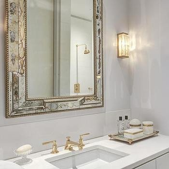 Antiqued Mirrored Bathroom Vanity with White Marble Top Contemporary Bathroom