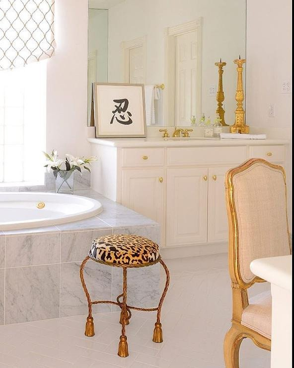 White and Gold Bathroom Decor Unique White and Gold Bathroom with Leopard Stool French Bathroom