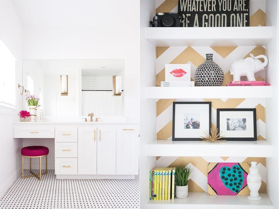 White and Gold Home Decor Elegant Black White & Gold Girls Bathroom Design Cc&mike