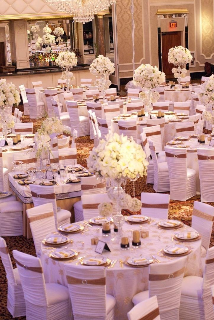 White and Gold Wedding Decor New Reception Décor S All White Chair Covers with Gold Bands Inside Weddings