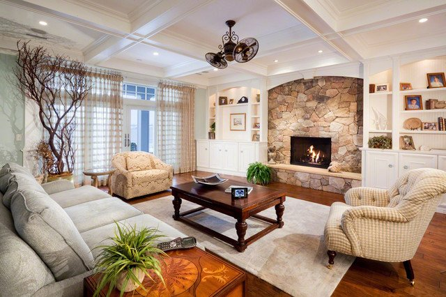 White Traditional Living Room Awesome White Room with Stone Fireplace