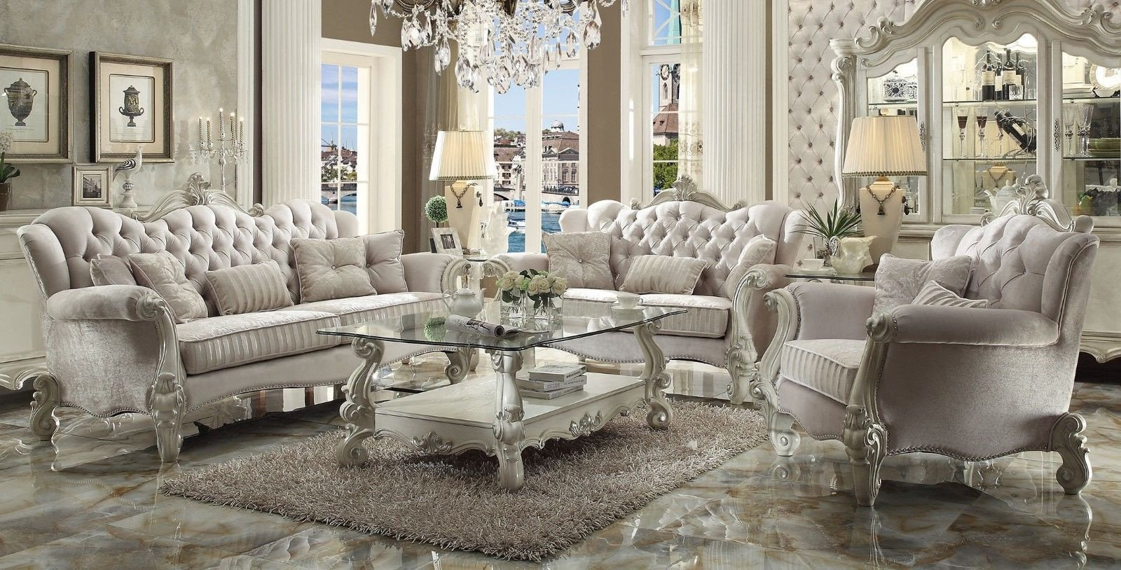 White Traditional Living Room Elegant Versailles Traditional Ivory Velvet formal Living Room Set Carved Wood