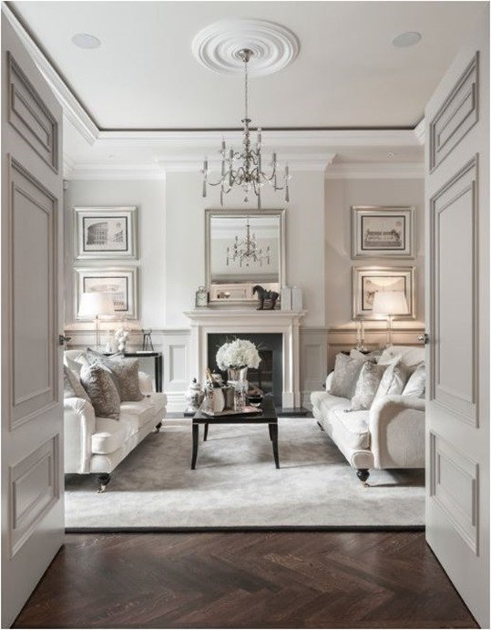 White Traditional Living Room Lovely Decorating with White