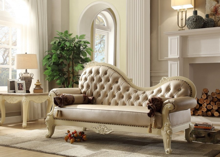 White Traditional Living Room Unique Traditional Living Room Set W Pearl Bonded Leather and Antique White Carved Wood