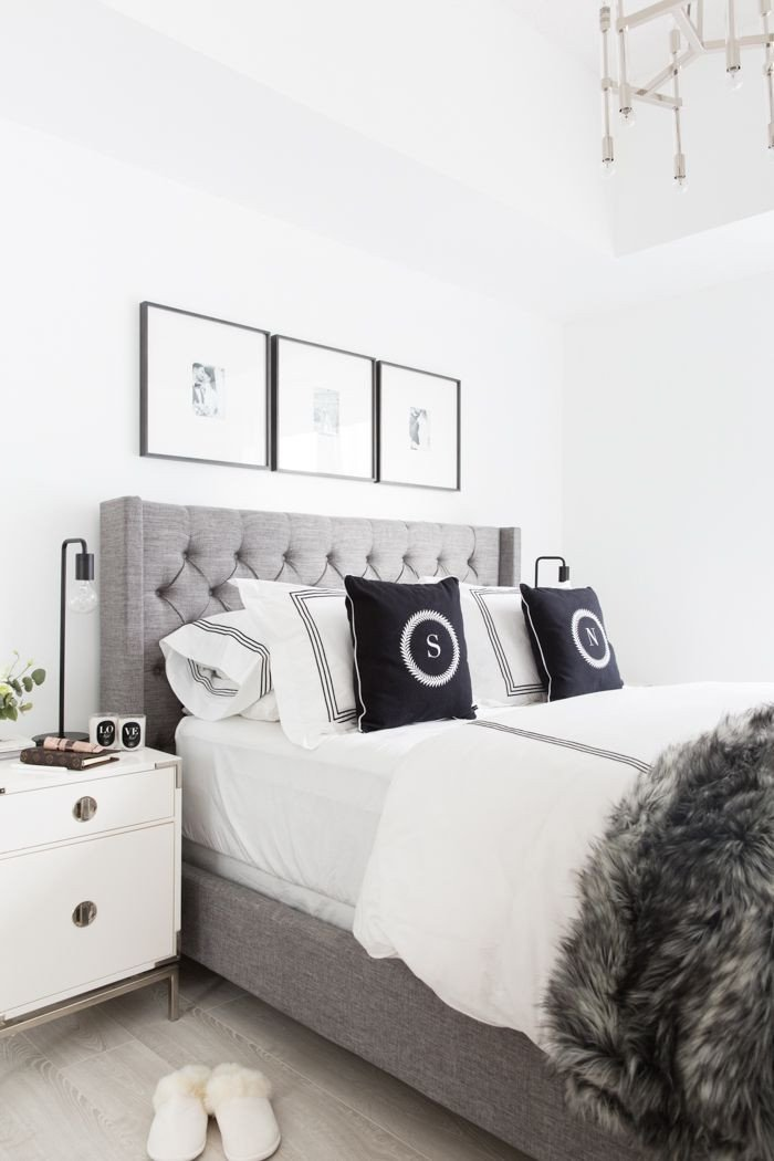 White Wall Decor for Bedroom Inspirational Grey Tufted Headboard Light and Bright Bedroom Home Decor and Interior Decorating Ideas White