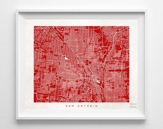 World Of Decor San Antonio Unique San Antonio Map Print Texas Wall Decor town by Inkistprints