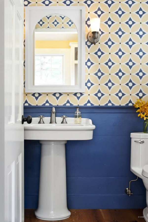 Yellow and Blue Bathroom Decor Awesome Wallpaper for the Powder Room the Inspired Room