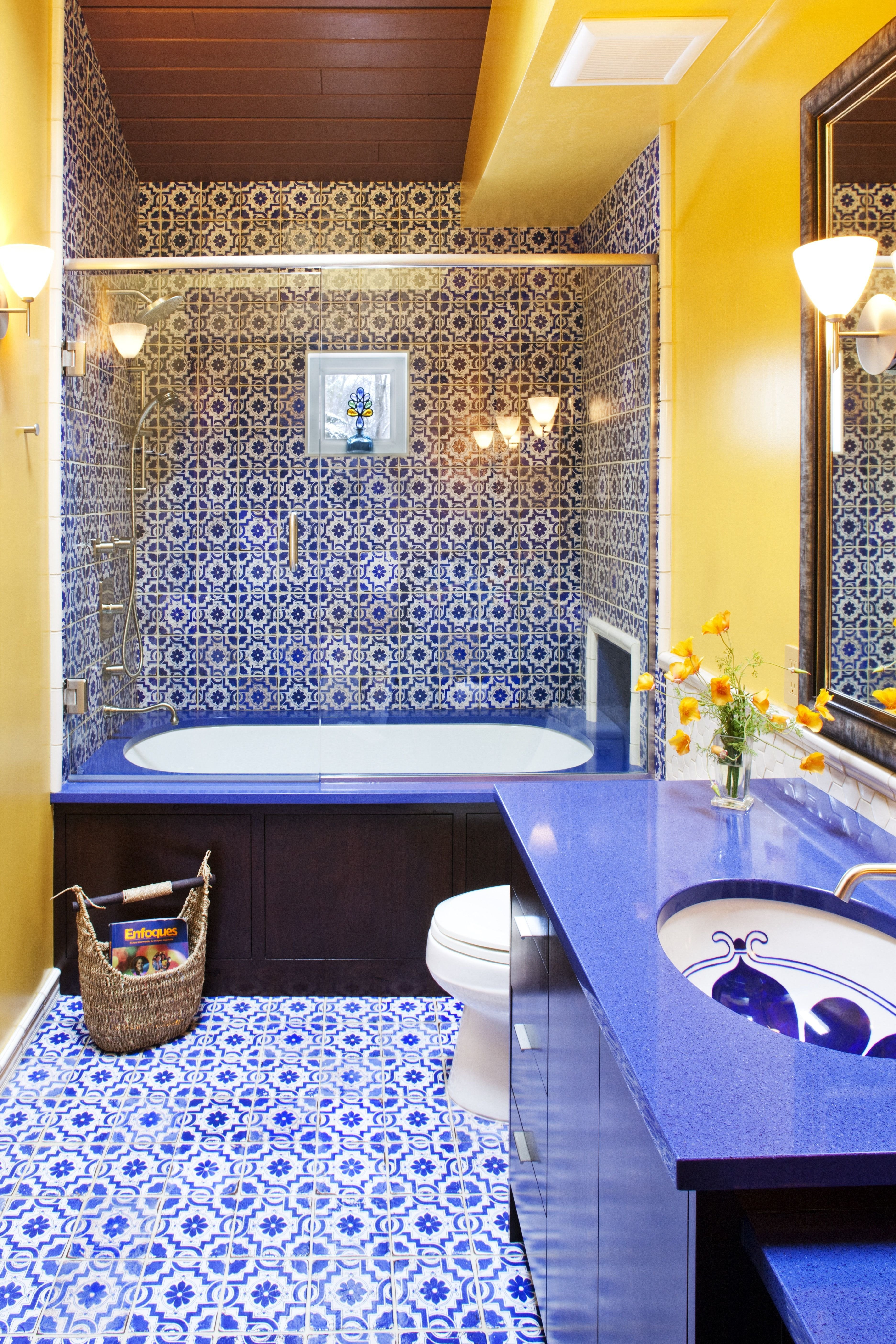 Blue and Yellow Moroccan Inspired Guest Bathroom home