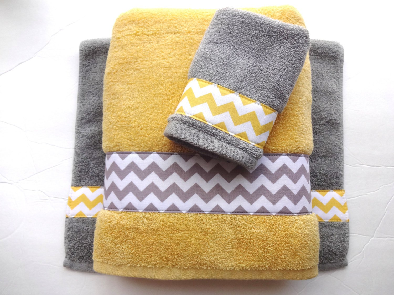 Yellow and Gray Bathroom Decor Beautiful Pick Your Size towel Yellow and Grey towels Gray and Yellow