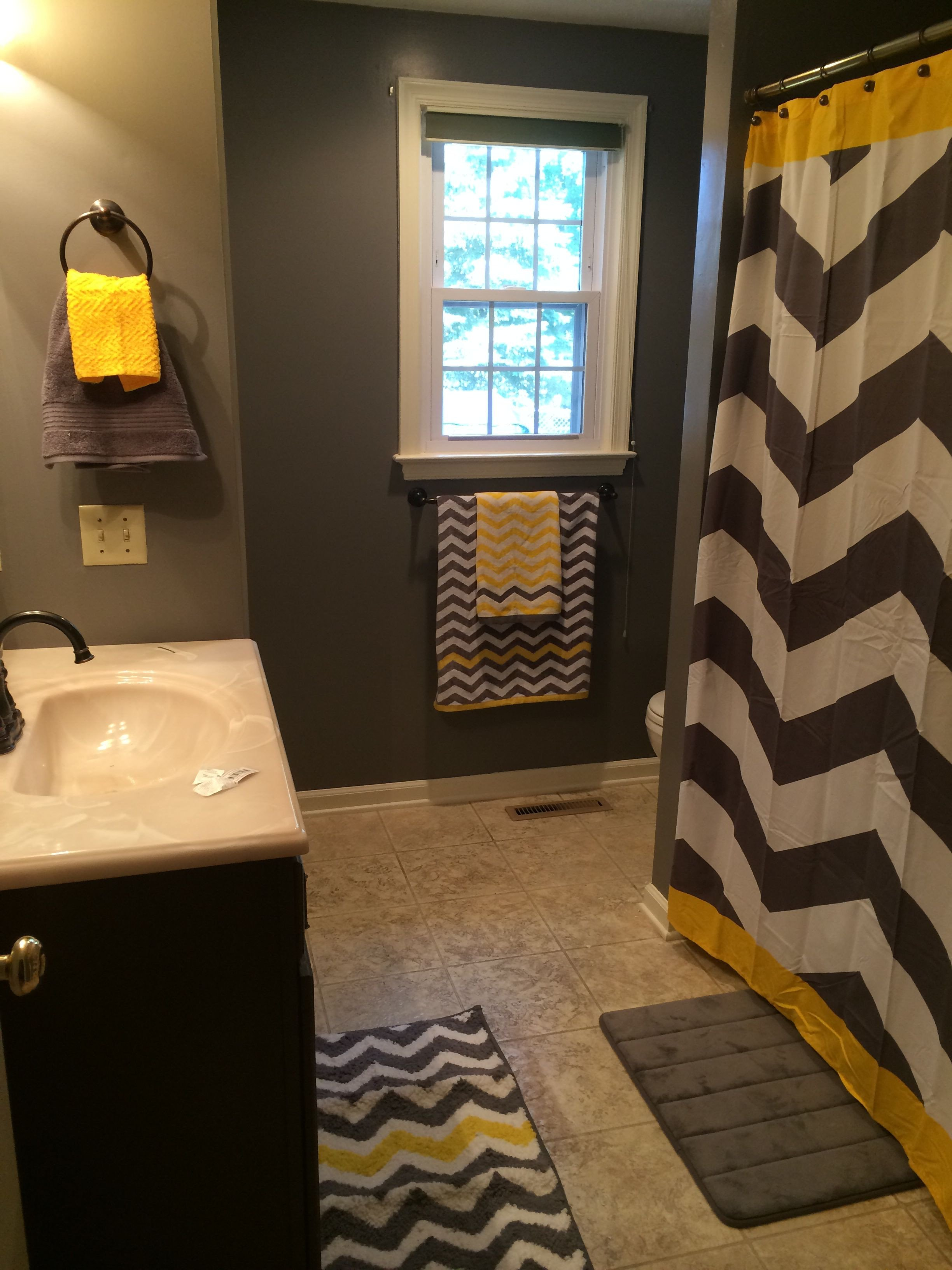 Yellow and Gray Bathroom Decor Best Of Gray and Yellow Chevron Bathroom Substitute the Yellow for Any Color