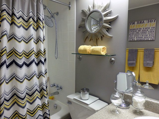 Yellow and Gray Bathroom Decor Elegant Grey and Yellow Bathroom Contemporary Bathroom by Dominika Pate Interiors