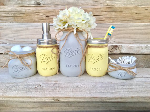 Yellow and Gray Bathroom Decor Luxury Yellow and Grey Bathroom Decor Yellow and Gray Mason Jar Bath