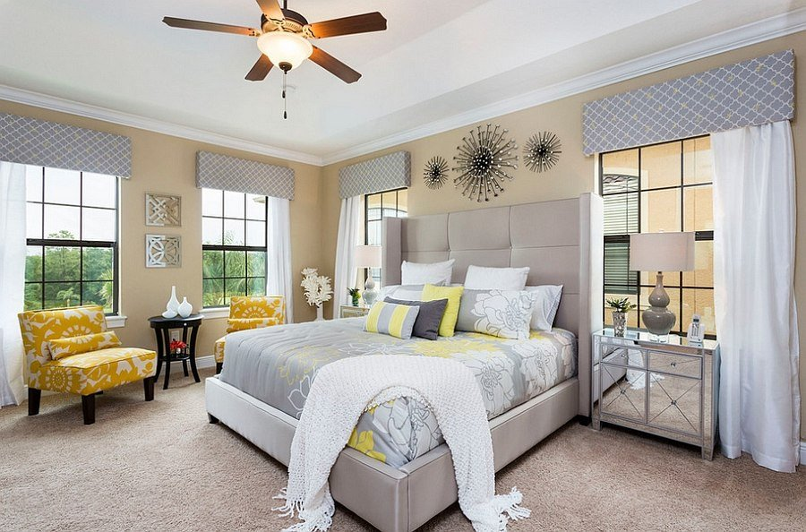 Yellow and Gray Bedroom Decor Elegant Cheerful sophistication 25 Elegant Gray and Yellow Bedrooms