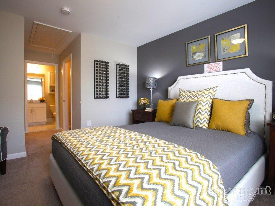 Yellow and Gray Bedroom Decor Elegant Yellow and Grey Bedroom Idea Chevron Throw I Love This Dark Grey Accent Wall A Interior Design