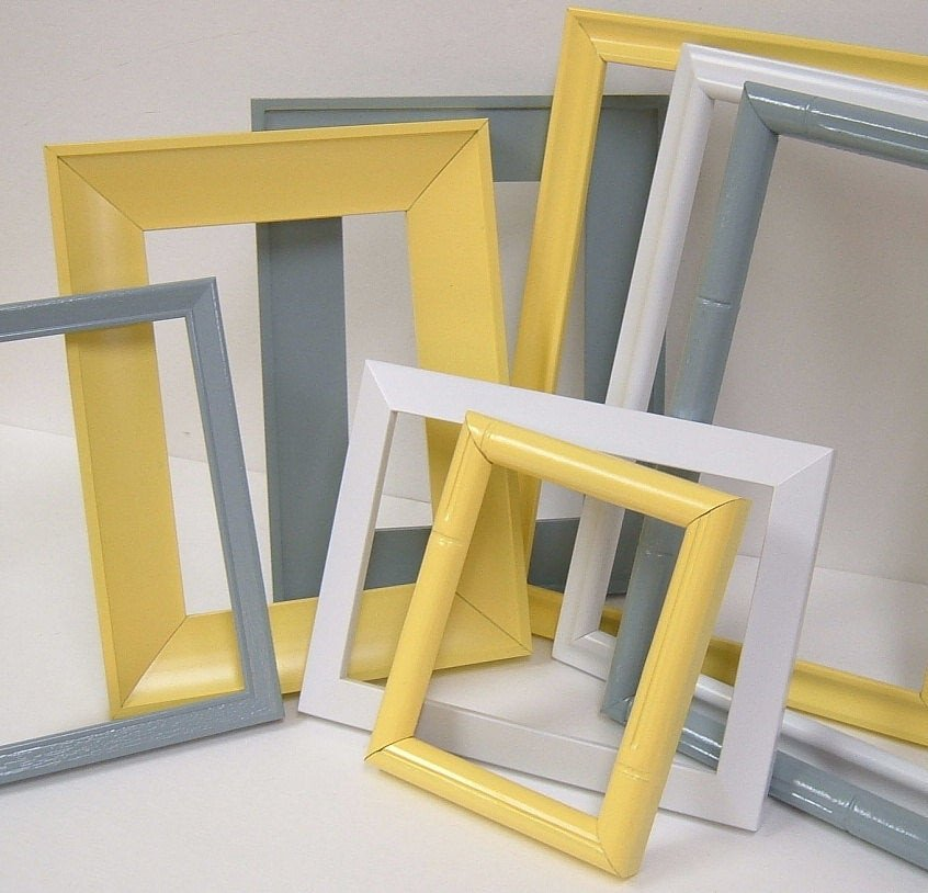 Yellow and Grey Home Decor Awesome Yellow and Grey Home Decor Picture Frames by Mountaincoveantiques