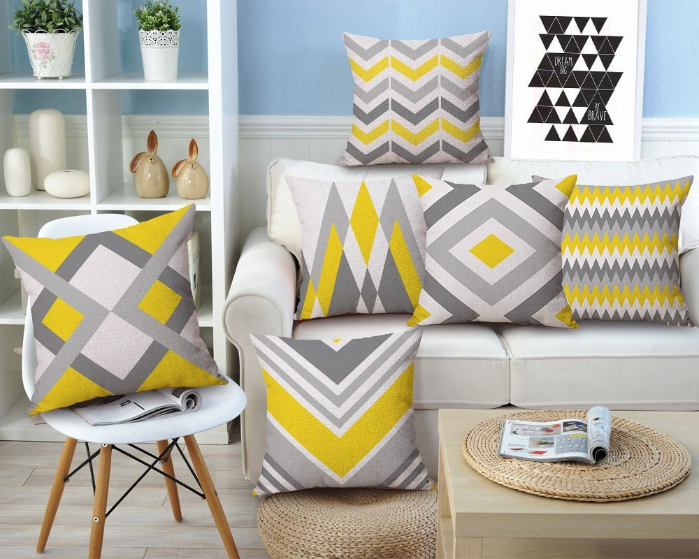 Yellow and Grey Home Decor New Drop Ship Geometric Cushion Cover Yellow Grey Home Decor Linen Cotton Pillow Cove Decorative