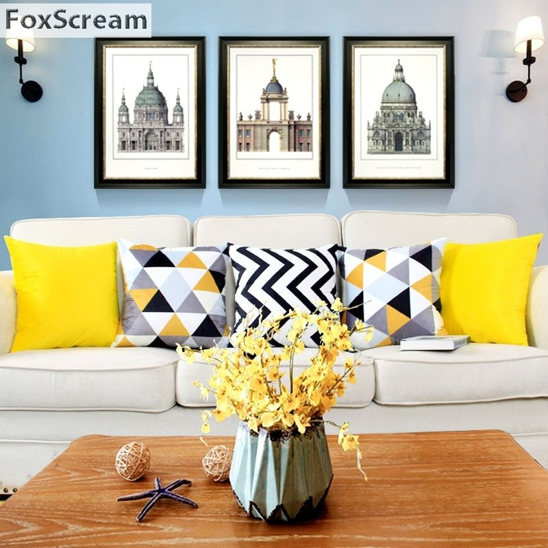 Yellow and Grey Home Decor New nordic Style Decorative Pillows Cases Yellow Gray Geometric Cushion Cover Home Decor Black White