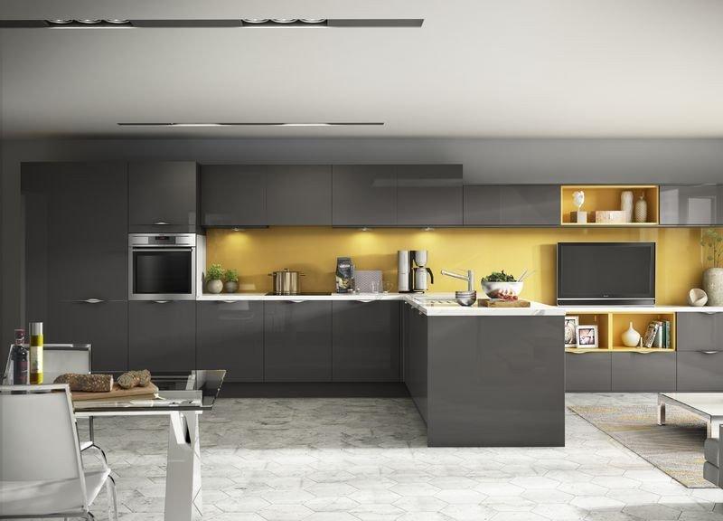 Yellow and Grey Kitchen Decor Best Of Inline Gloss Anthracite with Stunning Yellow Glass Splashback Kitchen Interior